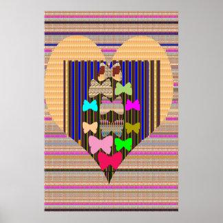 Golden HEART Butterfly pattern navinJOSHI NVN138 Poster