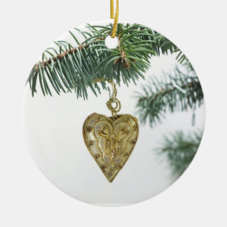 Golden Heart Christmas Ornament