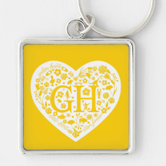 Golden Heart Class Reunion Logo Keychain Silver-Colored Square Keychain