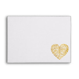 Golden heart design envelope