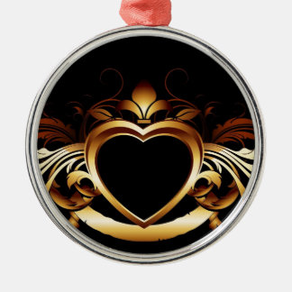 GOLDEN HEART DESIGN METAL ORNAMENT