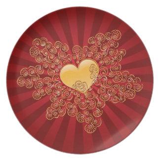 Golden Heart Dinner Plates