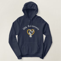Golden Heart Doves - Anniversary Embroidered Hoodie