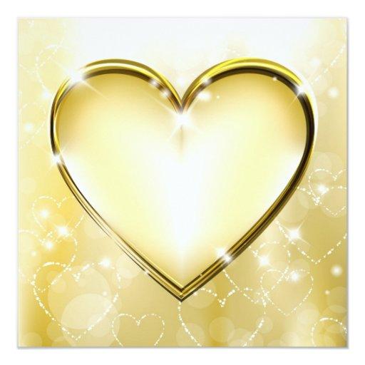 Golden heart Invitation