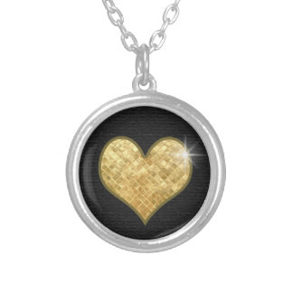 golden heart, jewel of love silver plated necklace