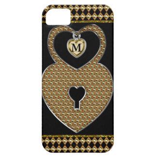 Golden Heart Lock With Charm Monogram iPhone 5 Case