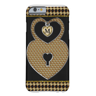 Golden Heart Lock With Charm Monogram Barely There iPhone 6 Case