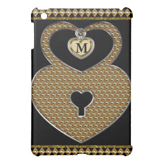 Golden Heart Lock With Charm Monogram Case For The iPad Mini