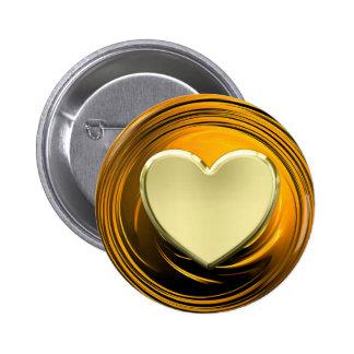Golden heart on golden liquid background button