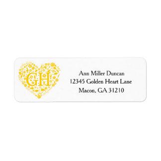 Golden Heart Reunion Logo Return Address Labels