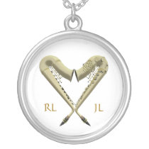 Golden Heart Saxophones Silver Plated Necklace at Zazzle