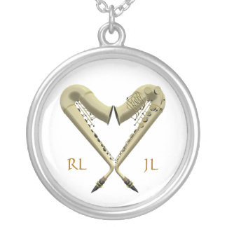 Golden Heart Saxophones Silver Plated Necklace