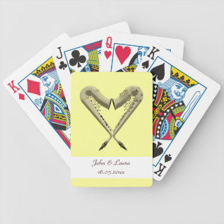 Golden Heart Saxophones Wedding Playing Cards at Zazzle