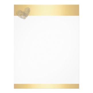 Golden heart text design thumbprint letterhead