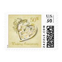 Golden heart, white roses 50th Wedding Anniversary Postage