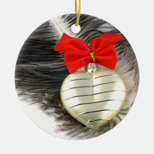 Golden heart with ceramic ornament