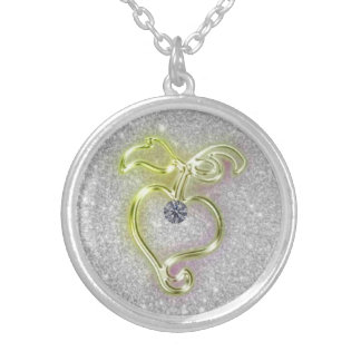 Golden Heart with Diamond and Sparkles Round Pendant Necklace