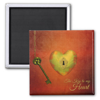 Golden Heart with Key - Magnet