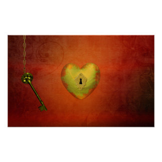 Golden Heart with Key - Poster