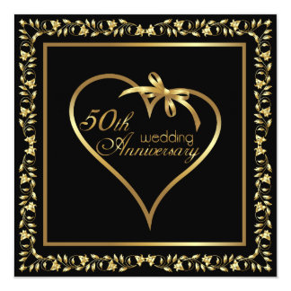 Golden heart with ribbon 50th anniversary card