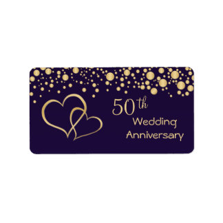 Golden hearts 50th Wedding Anniversary label