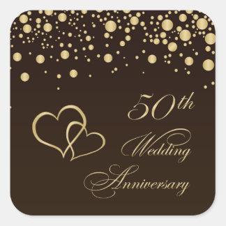 Golden hearts 50th Wedding Anniversary Sticker