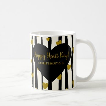 Professional Business Golden Hearts And Black Stripes Coffee Mug