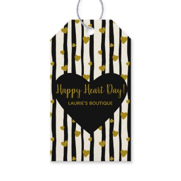Professional Business Golden Hearts And Black Stripes Gift Tags