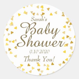 Golden Hearts Baby Shower Favor Classic Round Sticker