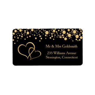Golden hearts, confetti Address Label