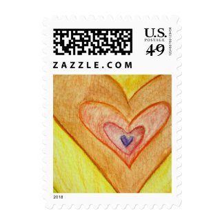 Golden Hearts Customized Love Postage Stamps