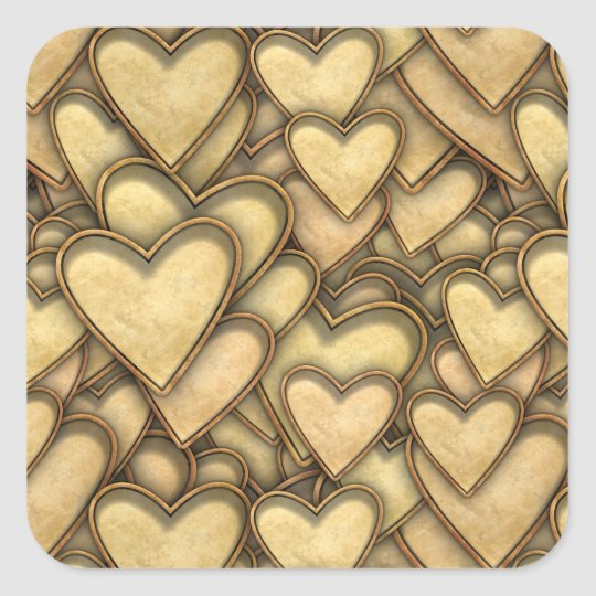 Golden Hearts Everywhere Square Sticker