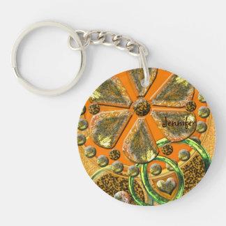 Golden hearts & flower, artistic Keychain