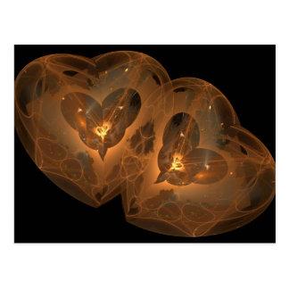 Golden Hearts Fractal Postcard