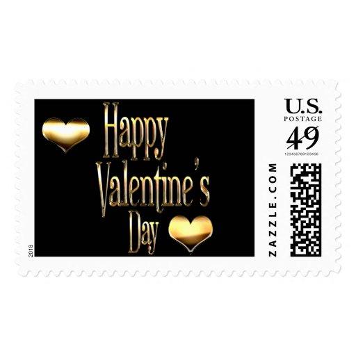 Golden Hearts Happy Valentine's Day Postage