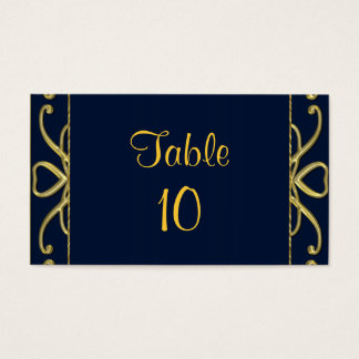 Golden Hearts On Blue 50th Wedding Anniversary Business Card