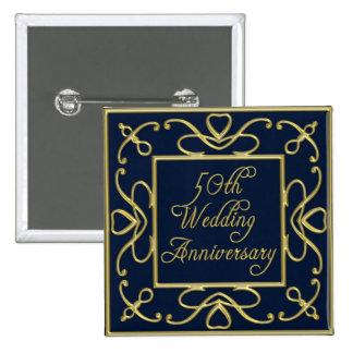 Golden Hearts On Blue 50th Wedding Anniversary Button
