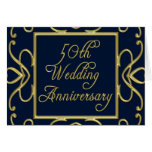 Golden Hearts On Blue 50th Wedding Anniversary Greeting Card