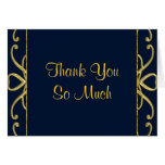 Golden Hearts On Blue 50th Wedding Anniversary Stationery Note Card