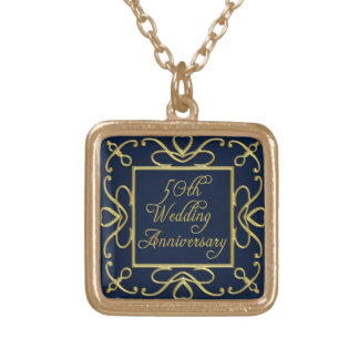 Golden Hearts On Blue 50th Wedding Anniversary Gold Plated Necklace