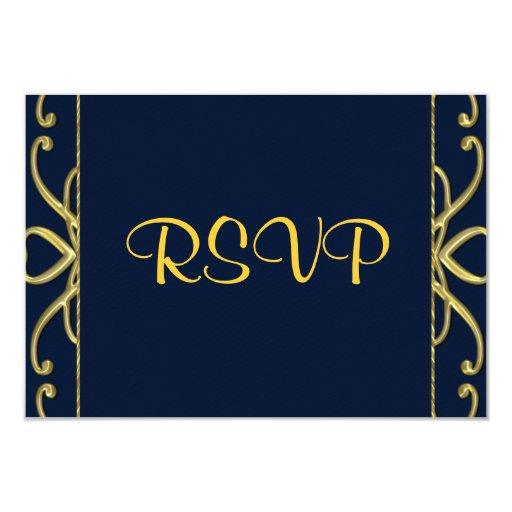 Golden Hearts On Blue 50th Wedding Anniversary 3.5x5 Paper Invitation Card