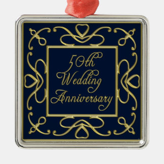 Golden Hearts On Blue 50th Wedding Anniversary Christmas Ornament