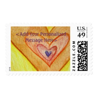 Golden Hearts Personalized Custom Postage Stamps