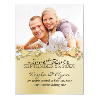 Golden Hearts Photo Save the Date Magnetic Card