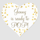 Golden Hearts She's Ready to Pop Baby Shower Favor Heart Sticker