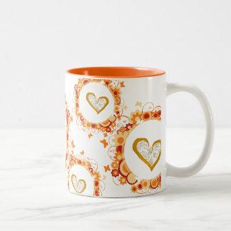Golden hearts Two-Tone coffee mug