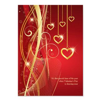 Golden Hearts Valentine Invitation