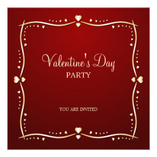 Golden Hearts Valentine s Day party invitation