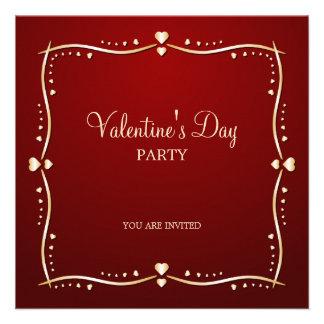 Golden Hearts Valentine s Day party invitation