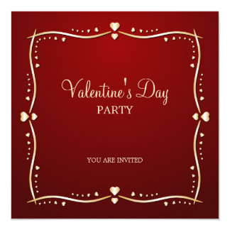 """Golden Hearts Valentine's Day party invitation 5.25"""" Square Invitation Card"""